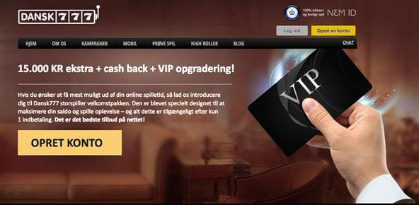 Dansk 777 VIP: 15000 KR ekstra + cash back