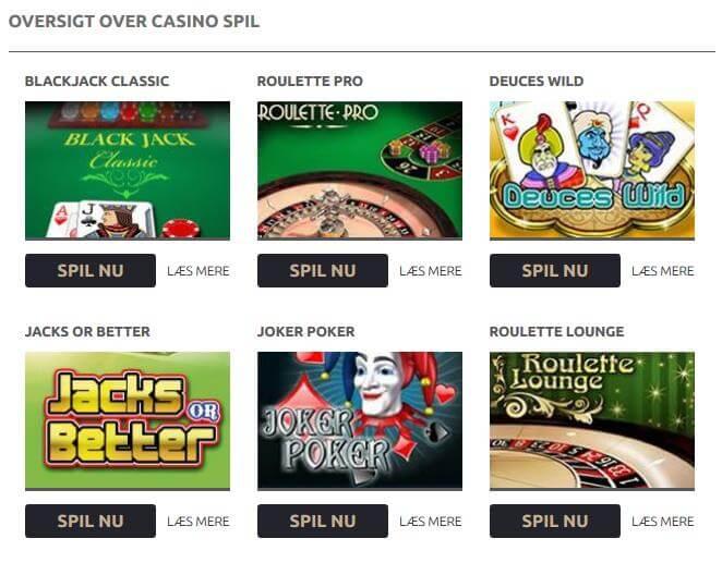 Oversigt over casino spil hos Mr Spil