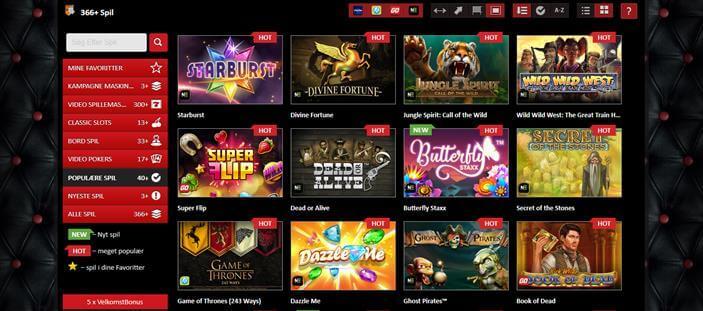 Populaere spil hos 777 Casino