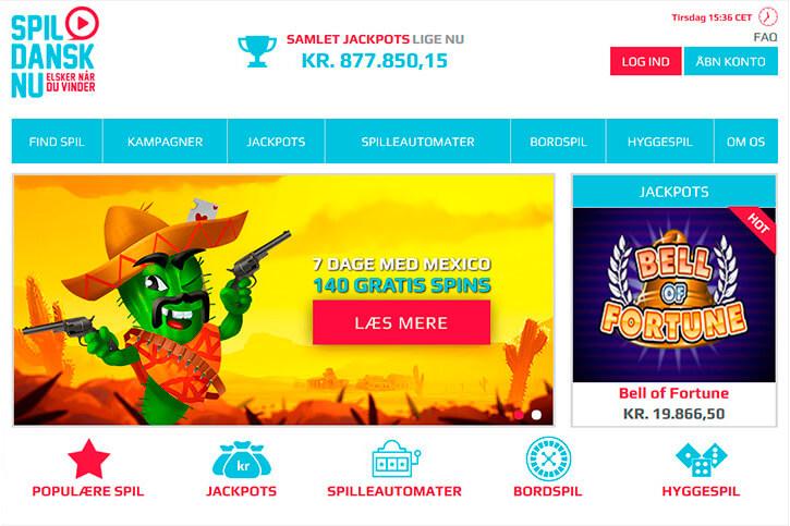 SpilDanskNu main page