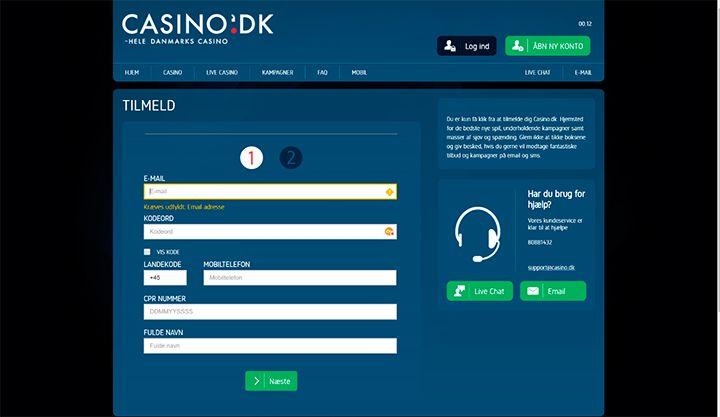 Casino.dk register