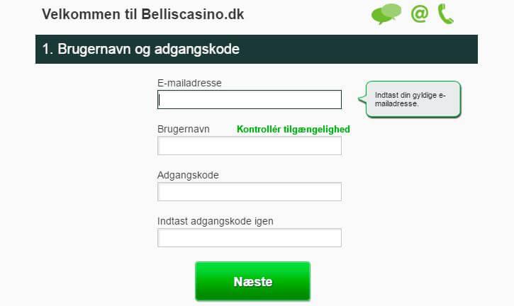 Bellis Casino opret konto