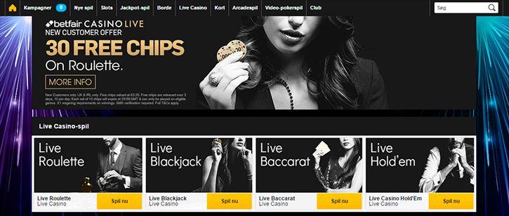 Betfair Casino main page